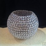 CRYSTAL BEADED ROUND BALL CANDLE HOLDER